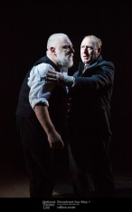 King Lear (Simon Russell Beale) and the Fool (Adrian Scarborough). Photo: Mark Douet.